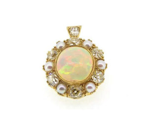 Antique Victorian Opal Pearl and Diamond Pendant