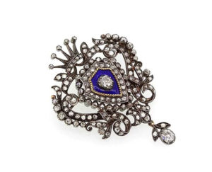 Antique Victorian 4.00ct Old-Cut Diamond and Blue Enamel Brooch
