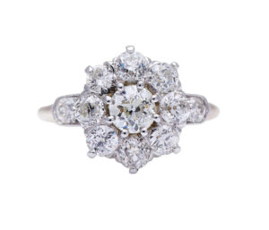 Antique Victorian Old-Cut Diamond Flower Cluster Ring, 2.29 carats