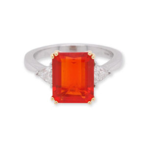 Vintage Fire Opal and Diamond Ring, 2.78 carats, 18ct White Gold
