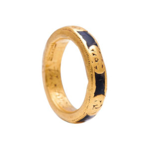 18th Century Gold and Enamel Momento Mori Ring Band, Circa 1750