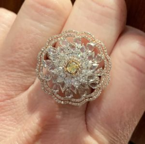 Fancy Yellow Diamond Floral Cluster Dress Ring, 3.79 carat total