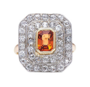 Art Deco Spessartine 'Mandarin' Garnet and Diamond Cluster Ring