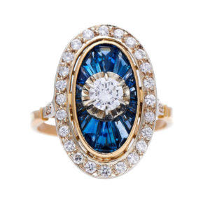 Vintage Art Deco Style Natural Sapphire and Diamond Cluster Ring