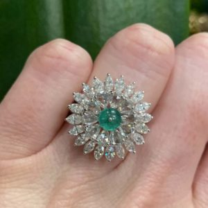 Emerald and Diamond Floral Cluster Dress Ring, 4.52 carat total