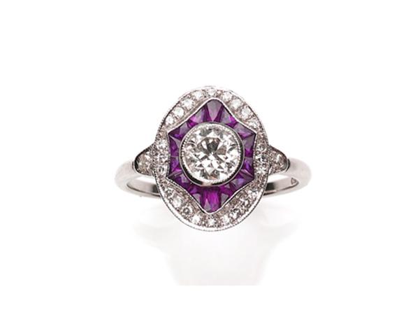 Art Deco style ruby diamond target ring calibre cut new design 18 gold