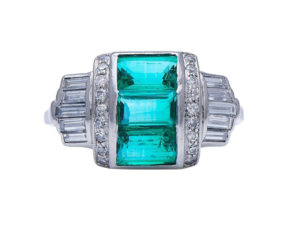 Art Deco Natural Colombian Emerald and Diamond Dress Ring in Platinum