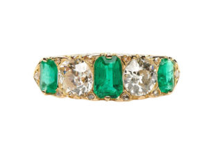 Antique Victorian Emerald and Diamond Five-Stone Ring, 18ct Yellow Gold