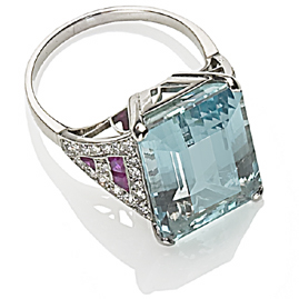 Art Deco Style Aquamarine, Ruby and Diamond Dress Ring