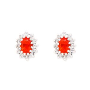 Mexican Fire Opal and Diamond Cluster Earrings set in 18ct White Gold