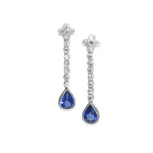 Diamond Topped Sapphire Drops Earrings, 2.27 carats, 18ct White Gold