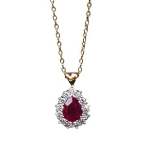 Ruby and Diamond Cluster Pendant, 3.26 carat total, 18ct Gold