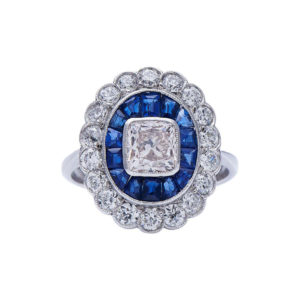 Art Deco Style Sapphire and Diamond ring, Target Cluster Calibre Cut