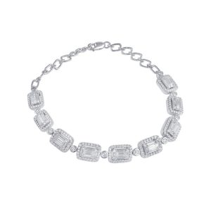 Emerald-Cut Diamond Cluster Bracelet, 2.81 carat total, 18ct White Gold