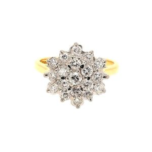 Diamond Cluster Ring, 0.60 carats, 18ct Yellow Gold