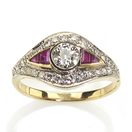 Art Deco Style Ruby and Diamond 18ct Gold Ring