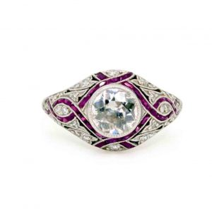 Art Deco Style 1.00ct Old-Cut Diamond, Ruby and Platinum Dress Ring