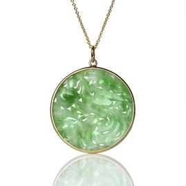 Vintage Carved Jadeite Jade Gold Pendant