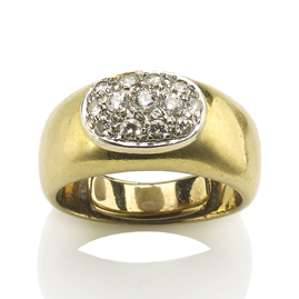 Diamond Pavé Set Cluster 18ct Gold Ring