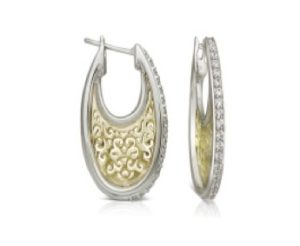 Diamond and 18ct Gold Hoop Earrings