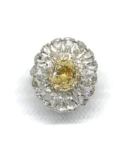 Fancy Yellow Diamond Cluster Ring, 5.55 carat total