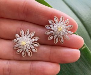 Pair of Fancy Yellow Diamond Floral Daisy Cluster Earrings, 3.55 carats
