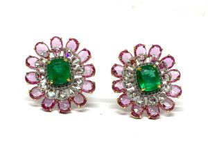 Emerald, Diamond and Pink Sapphire Cluster Earrings, 13.48 carat total