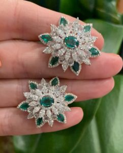 Pair of Emerald and Diamond Floral Cluster Earrings, 10.38 carat total
