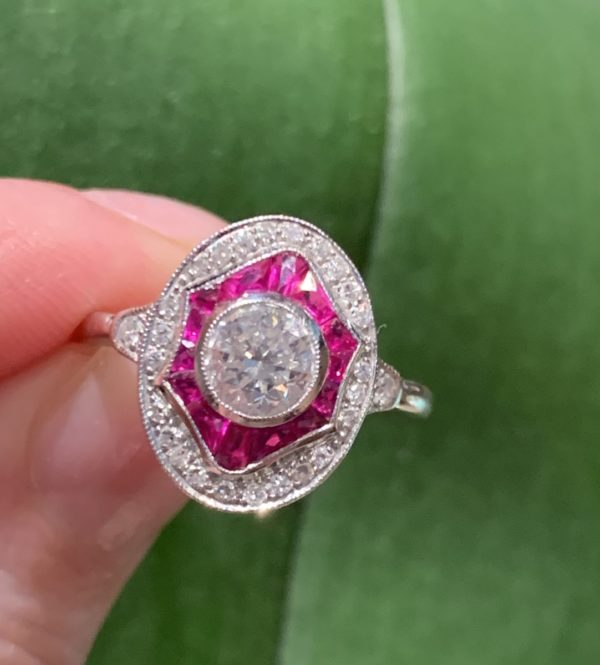 Art Deco Ruby Cluster ring oval shape target calibre cut white gold
