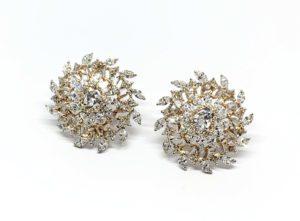 Pair of Diamond Floral Swirl Cluster Earrings, 4.91 carat total
