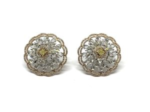 Pair of Fancy Yellow Diamond Floral Cluster Earrings, 6.19 carat total