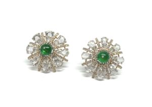 Pair of Emerald and Diamond Starburst Cluster Earrings, 6.15 carat total