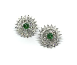 Pair of Emerald and Diamond Cluster Earrings, 7.27 carat total