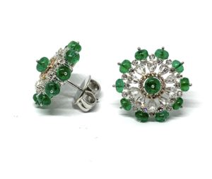Pair of Emerald and Diamond Cluster Earrings, 9.13 carat total