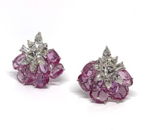 Pink Sapphire and Diamond Cluster Earrings, 14.69 carat total