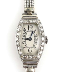 Art Deco Diamond Cocktail Platinum Watch, Benson