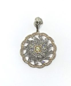 Fancy Yellow Diamond Floral Cluster Pendant, 4.41 carat total