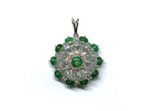 Emerald and Diamond Cluster Pendant, 7.88 carat total
