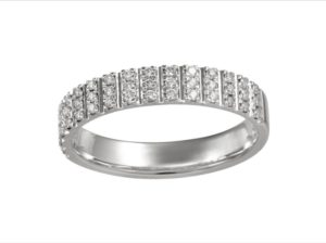 Pave Diamond Half Eternity Wedding Engagement Band Ring, 0.23cts, 18ct White Gold