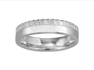Princess Diamond Half Eternity Wedding Engagement Band Ring, 0.44 Carat, 18ct White Gold