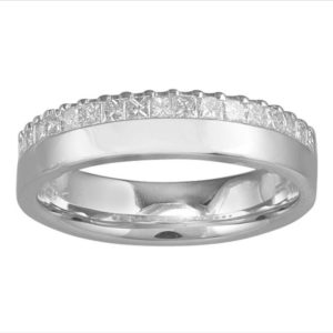 Princess Diamond Half Eternity Wedding Engagement Band Ring, 0.44 Carat, 18ct White Gold