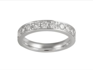 Round Diamond Half Eternity Wedding Ring Band, 0.78ct, 18ct White Gold