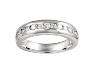 Round and Princess Cut Diamond Half Eternity Wedding Engagement Ring, 0.64ct, 18ct White Gold