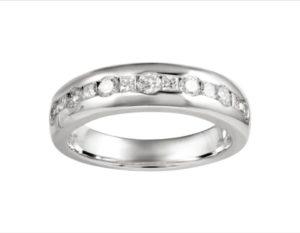 Round and Princess Cut Diamond Half Eternity Wedding Engagement Ring, 0.64ct, 18ct White Gold