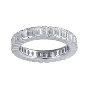 Emerald-Cut Diamond Full Eternity Band Ring, 3.10 carats