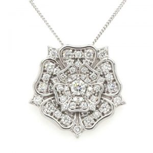 3.30cts Diamond 'Yorkshire Rose' Pendant in 18ct White Gold