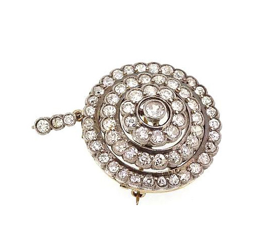 Antique Victorian Old-Cut Diamond Pendant Brooch, 5.00 carats, Set in silver and backed with gold.