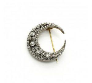 Antique Victorian Old-Cut Diamond Crescent Brooch, 4.50 carat total