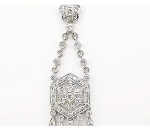 Art Deco Style Diamond Pendant, 0.76cts, in 18ct White Gold