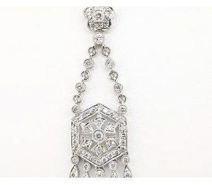 Ornate Diamond Pendant, 0.76cts, in 18ct White Gold